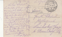 CP Obl K.D.Feldpostexp 12. Landw Div Du 7.4.16 + Cachet 3. Kgl Sächs Armierungs Bataillon Nr 23 / 5. Kompagnie - Poststempel (Briefe)