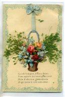 FANTAISIE  Collage Chromo Et Ajoutis Vegetaux  Ce Joli Bouquet Corbeille Avec Ruban Bleu 1910 /D10-2016 - Fantaisies