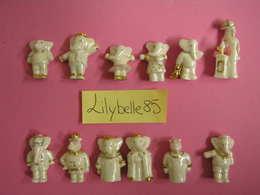 Serie Complète De 12 Fèves En Porcelaine - BABAR DORE 2008 ( Feve Miniature Figurine ) - Cartoons