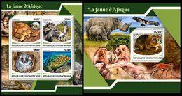 CENTRAL AFRICA 2017 - Rhinoceros - YT 5221-4 + BF 1176; CV=40 € - Rhinozerosse