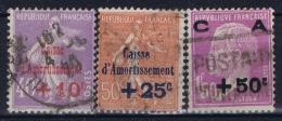 France: Yv 249 - 251 Obl./Gestempelt/used  Caisse Amortissement 1928 - France