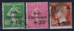 France: Yv 253 - 255 Obl./Gestempelt/used  Caisse Amortissement 1929 - France