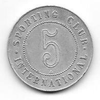 "Ancien Jeton Métal De 5 Francs Du Casino ""Sporting Club International De Monaco""  (ficha) - Casino"