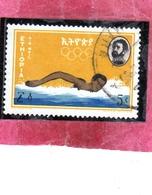 THAILANDE THAILAND TAILANDIA 1964 AIR MAIL POSTA AEREA OLYMPIC GAMES TOKYO SPORTS SWIMMING SPORT 5c USATO USED OBLITERE' - Tailandia