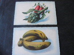 2 ANCIENTS  BEAUTIFULS  NEWS  POSTCARDS  OF FRUITS //  2  ANTICHE  NUOVE CARTOLINE  DI  FRUTTI E VERDURE - B. Plantes Fleuries & Fleurs