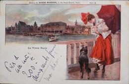 CPA. - Paris Vue Panoramique Le Vieux Paris - Illustr. A. Robaudi - Le Dernier Echo De 1900 - TBE - France