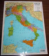 ITALIA PLASTIFICATA VINTAGE POLITICA E FISICA 41 X 30 CM. - Carte Geographique