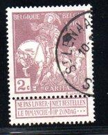 Belgique /  N 89 / 2 Centimes Lilas Brun / Oblitéré - Usados