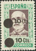 **NE32Ahh. 1938. 10 Cts Verde Sobre 25 Cts Verde Violeta NO EMITIDO. Variedad SOBRECARGA DOBLE. MAGNIFICO. Edifil 2017:  - Espagne