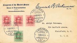 SOBRE 2(3), 3. 1929. 5 Cts Carmín Rojo, Tres Sellos Y 10 Cts Verde. Carta Filatélica De ANDORRA LA VIEJA A PLAINFIELD (U - Espagne