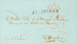 SOBRE. 1838. MANILA A MADRID. Marca FILIPINAS, En Negro Estampada En Tránsito En Cádiz A Toda La Correspondencia Procede - Philipines
