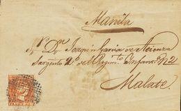 SOBRE 1. 1856. 5 Cuartos Naranja. MANILA A MALATE. Matasello CIRCULO DE PUNTOS Y En El Frente Baeza MANILA / ISLS FILIPI - Philipines