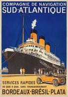France Navigation Postcard C.ie De Nav. Sud-Atlantique Bordeaux-Brésil-Plata 1920 - Reproduction - Advertising