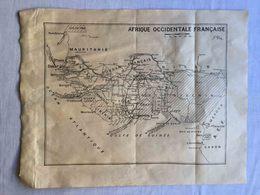 ANTIQUE AFRICA AFRIQUE OCCIDENTALE FRANÇAISE MAP BROCHURE FRAGMENT 1930'S - Cartes