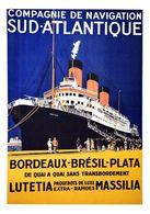 France Navigation Postcard C.ie De Nav.ion Sud-Atlantique Bordeaux-Brésil-Plata Lutetia Massilia 1920 - Reproduction - Advertising