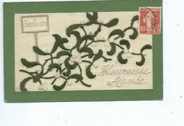 Carte Brodée - Magnifique Carte Avec Bouquet De GUI - Bonheur Pour Une Heureuse Année - - Borduurwerk