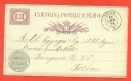 INTERI POSTALI REGNO-CARTOLINE POSTALI - CP N.3a  -DA NEIVE A TORINO - 1861-78 Vittorio Emanuele II