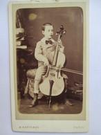 -Photographie CDV  Jeune Garçon Et Violoncelle - Photographie M. Berthaud , Paris - Superbe - TBE - Photographs