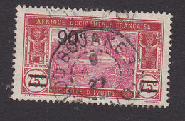 Ivory Coast, Scott #86, Used, River Scene Surcharged, Issued 1924 - Ivory Coast (1892-1944)
