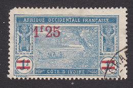 Ivory Coast, Scott #87, Used, River Scene Surcharged, Issued 1924 - Ivory Coast (1892-1944)
