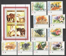 A294 2000 KOREA RWANDA ANIMALS & FAUNA HORSES 1SET+1KB MNH KB HAS A SLIGHTLY CREASED LOWER LEFT CORNER - Briefmarken