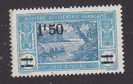 Ivory Coast, Scott #88, Mint No Gum, River Scene Surcharged, Issued 1924 - Ivory Coast (1892-1944)