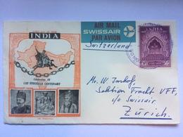 INDIA - 1957 FDC - Celebration Of 1857 Struggle - Illustrated Air Mail Bombay To Zurich Switzerland - 1950-59 Republic