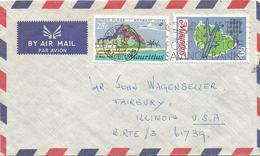 Mauritius 1970 Port Louis Map Cartography Lufthansa Inaugural Flight Hotel Cover - Mauritius (1968-...)