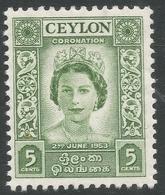 Ceylon. 1953 QEII Coronation. 5c MH. SG433 - Sri Lanka (Ceylon) (1948-...)