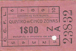 Portugal Carris De Ferro De Lisboa Bilhete 1$00 Para 4 Ou 5 Zonas - Tramways