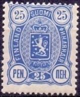 FINLAND 1889-1900 25 Pen Blauw Wapentype Drie Cijfers Tanding 14x12 PF-MNH - 1856-1917 Russische Verwaltung