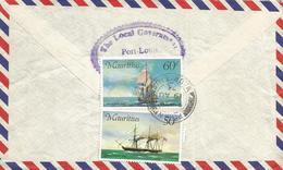 Mauritius 1976 Piton Schooner Saling Ship 50c 60c Registered Cover - Mauritius (1968-...)