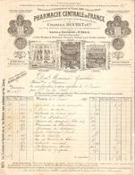 FACTURE 1898 Ch. BUCHET PHARMACIE CENTRALE DE FRANCE RUE DE JOUY PARIS 4 ème - St DENIS - OPIUM - GUERRE MARINE COLONIES - 1800 – 1899