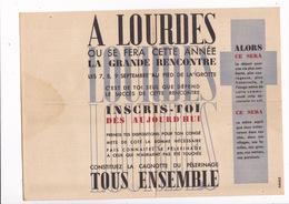 Rare Doc. Pèlerinage Des Prisonniers Et Déportés à Lourdes, Septembre 1946 - Unclassified
