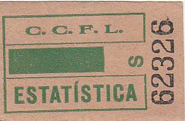 Portugal   Carris De Ferro Lisboa Tram Bus  Ticket Bilhete ESTATISTICA - Tramways