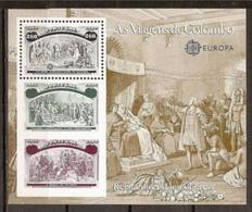 1992 Portogallo EUROPA CEPT EUROPE Foglietto Colombo MNH** Souv. Sheet - Europa-CEPT