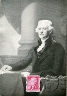 37736 U.s.a. Maximum  1954, The President Thomas Jefferson Painting Of Gilbert Stuart - Maximumkarten (MC)
