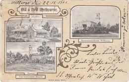 Litho MELBOURNE (Australien, Victoria) - Old & New Melbourne, Sehr Seltene 3 Bilderkarte Gel. 1902, ... - Melbourne