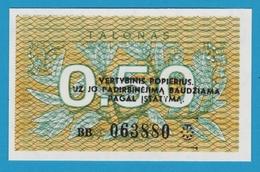 LITHUANIA 0.50 TALONAS 1991 SERIE BB063880 P# 31b - Lithuania