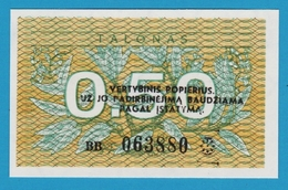LITHUANIA 0.50 TALONAS 1991 SERIE BB063880 P# 31b - Lituanie
