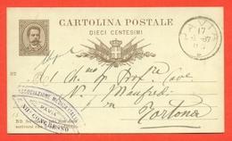 INTERI POSTALI REGNO-CARTOLINE POSTALI - CP N.5 -MILL. 87 - DA PAVIA PER TORTONA - MEDICINA - 1861-78 Vittorio Emanuele II