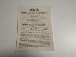 BANQUE Philanthropique , Nestor Urbain,DOTS, Pour Les Deux Sexes, Avril1839 - Reclame