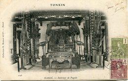 INDOCHINE CARTE POSTALE DU TONKIN -HANOI -INTERIEUR DE PAGODE DEPART HAIPHONG 12 AOUT 07 TONKIN POUR LA FRANCE - Indochine (1889-1945)
