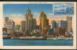 37745 U.s.a. Maximum 1951 Skyline Of Detroit Michigan (landing Of Cadillac) - Maximumkarten (MC)