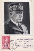 Carte Maximum Pétain  Journée Du Timbre 1942 Saint Etienne Tissé Sur Soie  PRIX FIXE - 1940-49