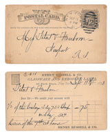UX5 1878 New York NY Station 12 Ellipse Duplex Cancel Henry Russell Glassware Kerosene Lamps - Postal History