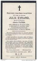 ETALLE ..-- Mme Julia EVRARD , épouse De Mr Alexis PAPIER . Née En 1878 , Décédée En 1919 . - Etalle