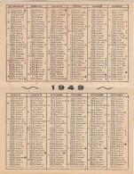 SANTINO HOLY CARD CALENDARIO 1949 APOSTOLICHE MISISONI  (SN156 - Calendari