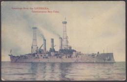 POS-1022 CUBA POSTCARD. CIRCA 1930. GUANTANAMO BAY, LOUISIANA BATTLESHIP SHIP. - Cuba