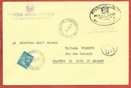 BUSTA VG ITALIA - ORDINARIA - Scuola Media Statale - 12 X 18 - ANN. 1971 SAN DANIELE DEL FRIULI - RIVE D'ARCANO TASSATA - 6. 1946-.. Repubblica